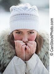 girl in nature in winter