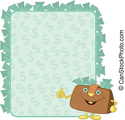 Purse and poster with dollars - Smiling purse shows the...