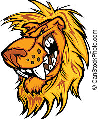 Snarling Cartoon Lion Mascot Vector - Lion Mascot with Mean...