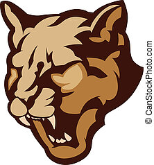 Cougar Mascot Head Vector Illustrat - Graphic Mascot Vector...