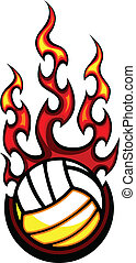 Volleyball Flaming Ball Vector Illu