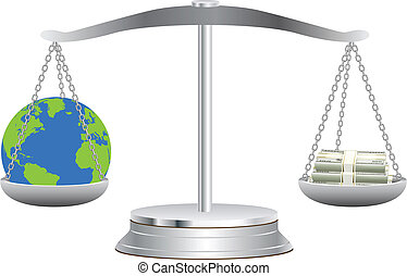 The Earth on scales with dollars - The globe lies in balance...