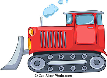 Cartoon Tractor Isolated on White Background Vector