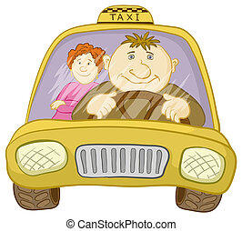 Car taxi with driver and passenger - Cartoon, car taxi with...