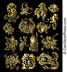 Floral Ornament Set of Vintage Golden Decoration Elements