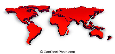 Red 3D Wold Map - Red Dimensional 3D Wold Map with USA...