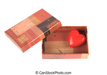 Red heart in the box for Saint Valentine's day - Red heart...