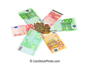 Many Euro banknotes and coins for background
