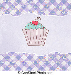 Retro card with cupcake. EPS 8