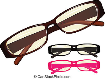 eyeglasses - Vector image eyeglasses, set different colours