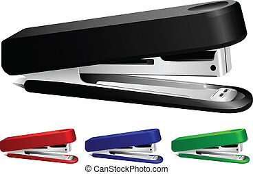 stapler - Vector image office stapler, set different colours