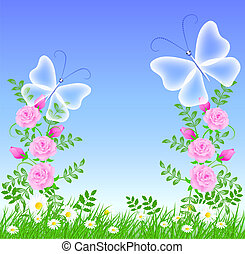 Roses and butterflies - Roses on the green grass and...