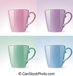 vector set of colorful cups
