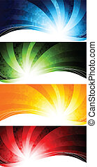 Vector set of abstract tech background