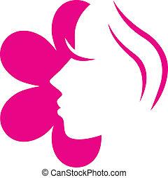 女性, 花, 顔, ピンク, アイコン, 隔離された,...