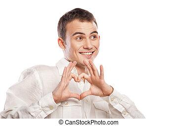 corazón, el suyo, Manos, Elaboración, retrato, feliz, hombre