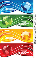 Set of bright technical banners. Vector illustration
