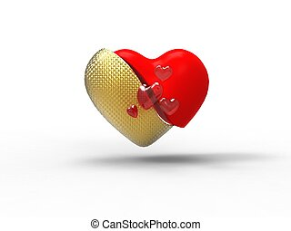 3d illustration of a red and golden heart in two-piece on white background