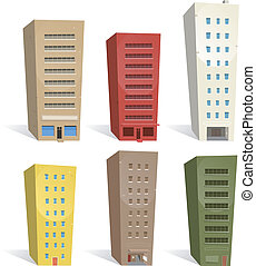 Buildings Set - Illustration of a set of cartoon buildings...