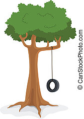 Tree With swing - Illustration of cartoon swing on a tree