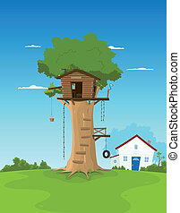Tree House In Garden Backyard - Illustration of a cartoon...
