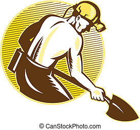 Coal Miner With Shovel Retro Woodcut - illustration of a...