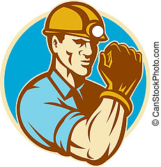 Coal Miner With Clenched Fist Retro - illustration of a coal...