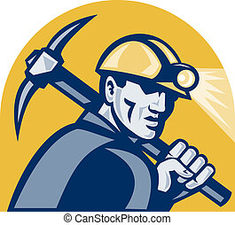 Coal Miner With Pick Axe Retro Woodcut - illustration of a...