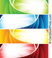 Set of four colorful banners