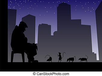 Urban story of old man and rats.Vector illustration