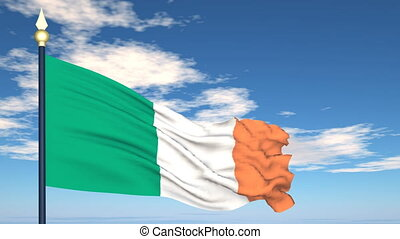 Flag Of Ireland on the background of the sky and flying...