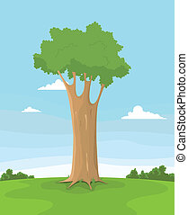 Spring Tree In A field - Illustration of a cartoon tree...