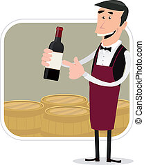 Cartoon Winemaker - Illustration of a cartoon winemaker...