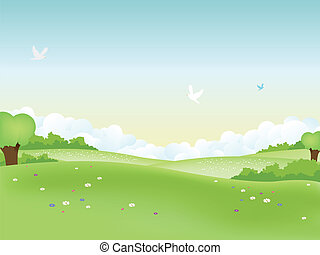 Spring Landscape - Illustration of easter landscape and...