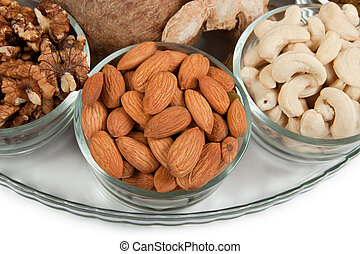 Mixed dry fruits in glas bowl