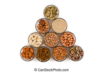 Mixed dry fruits in glas bowl - Pile of mix collection of...
