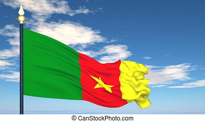 Flag Of Cameroon on the background of the sky and flying...