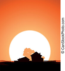 Farm In The Sunset - Illustration of a farm home silhouette...