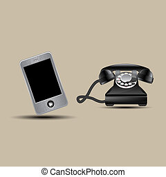 Retro phone and touchphone, vector illustration, eps10