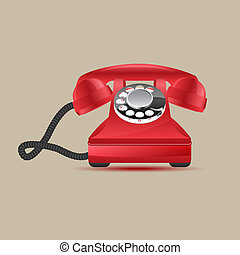 Retro phone - Glossy retro phone, vector illustration, eps10