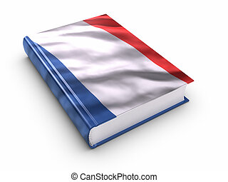 Book covered with French flag Clipping path included