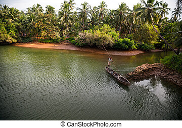 Beautiful view of small fishing boat on the lake in udupi...