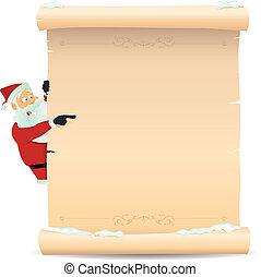 Santa Pointing Christmas List - Illustration of Santa Claus...