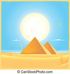 Giza Pyramid Square Poster - Illustration of two Giza...