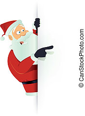 Santa Pointing White Blank Sign