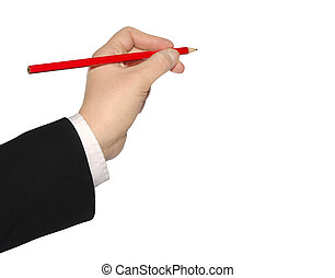 red pencil in business hand