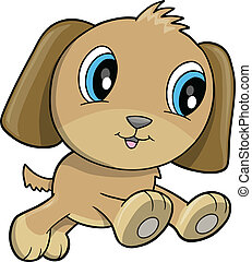 Feliz, Filhote cachorro, cão, vetorial,...