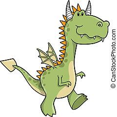 Cute Dragon Vector Illustration