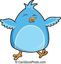 Cute Happy Blue Bird Vector
