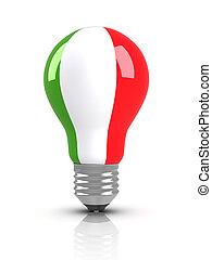 Light bulb with Italian Flag
